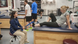 Athletic Training student works in The Lebanon Valley College Physical Therapy and Sports Rehabilitation Clinic