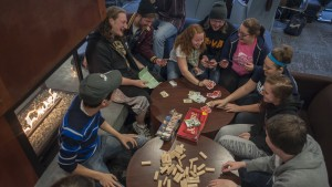 Students enjoy games in the Mund Dining Room
