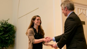 A student receives an award at the Business and Economics Departmental Awards Ceremony