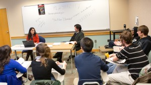 Professors Noelle Vahanian and Jeff Robbins discuss principles of living philosophy with their class
