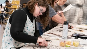 A student works in printmaking class at Lebanon Valley College