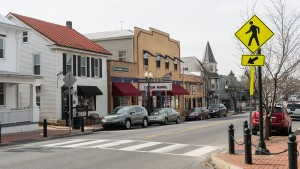 An overview of downtown Annville including the historic Allen Theatre.