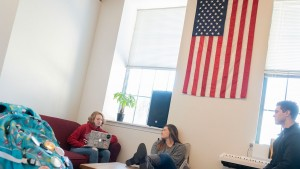 Lebanon Valley College students hang out in Derickson suites