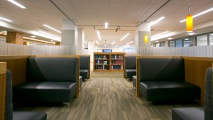 Booths and study areas in the The Vernon & Doris Bishop Library