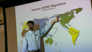 An LVC professor gives a lecture about DNA migration