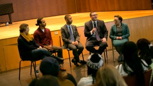A group of panelists discuss inclusive excellence