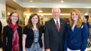 Governor Tom Corbett poses with LVC history students