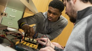 LVC Students working with Electronics