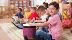 Young students in music class