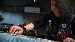 Music Business students gain hands on experience by mixing music in a recording studio