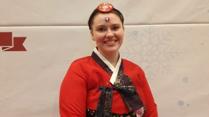 Kristy Sonberg at a New Years Snow Festival wearing traditional Korean hanbok