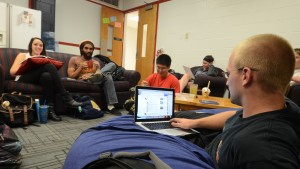 LVC students work together in a lounge on campus
