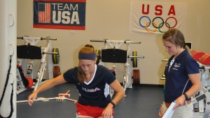 Physical Therapy students work with Olympic field hocckey athletes