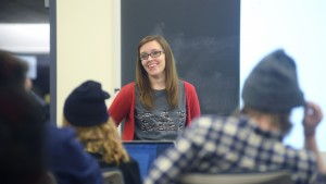 LVC Music Business major Katlyn Jumper presents an assignment to her classmates