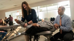 LVC students practice inside physical therapy lab