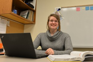 Chemistry professor, Dr. Elizabeth Sterner, works in her office