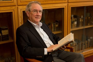 Dr. James Broussard, professor of history, reads a book