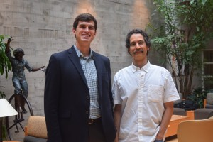 Actuarial Science Alum Dan Dunkelberger poses with Dr. Joseph Brewer
