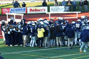 LVC football celebrates a win over Albright