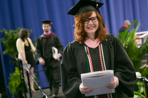 Double major Hannah Pell participates in LVC's commencement ceremony