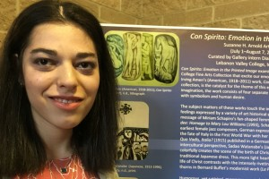 Art major Diana Hoffman presents her work with the Con Spirito exhibit