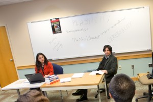 Dr. Jeff Robbins and Dr. Noëlle Vahanian hold a discussion with LVC students