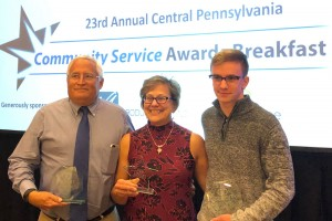 Lebanon Valley College staff and a student are recognized for Collegiate Recovery House program.