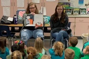 Lebanon Valley College student Norene Miller reads at an elementary school