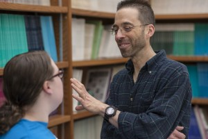 An LVC psychology professor speaks with a student