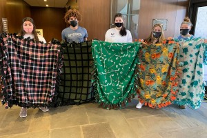 Members of LVC's track teams share their blankets