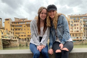 Rachael Barrick '21 and Anne Baney '21 study abroad in Perugia, Italy