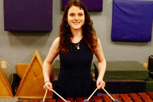 Lebanon Valley College music major Valerie Kosson plays the marimba.
