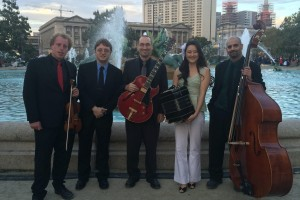 The Oscuro Quintet, Philadelphia's first tango music ensemble, poses for a photo
