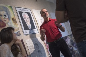 An LVC student views a piece of artwork
