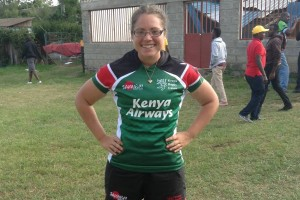 LVC alumna Jordan Weaver poses in her rugby uniform in Kenya