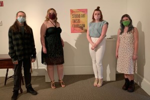 (l. to r.): Featured LVC student artists Grace Scheaffer '24, Rebekah Nickel '21, Sierra Sheriff '21, and Adrian Glasmyre '22