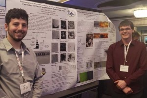 Collin Barker '19 and Joshua Miller '21 present their research on laser modifications of glass.