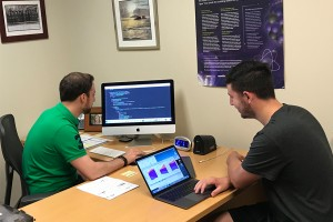 Joshua Miller '21 and Dr. Dan Pitonyak work together programming code in Python.