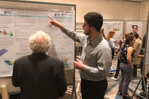 Joshua Miller '21 presents his computational nuclear physics research at the Division of Nuclear Physics Fall 2019 Meeting in Crystal City, VA.