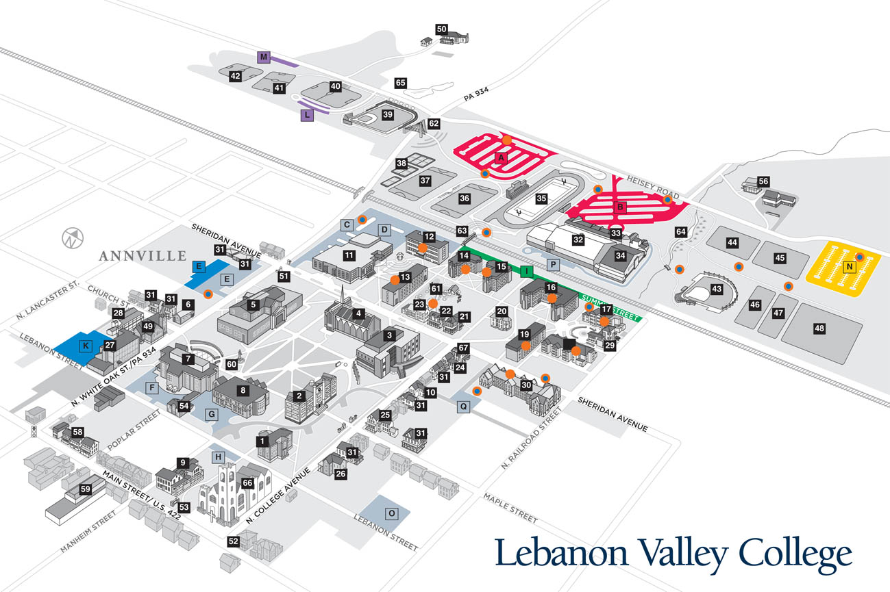 Parking map lebanon valley college for Location parking